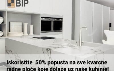 Iskoristite  50% popusta na sve kvarcne radne ploče koje dolaze uz naše kuhinje!